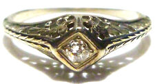VICTORIAN NOUVEAU 18K WHITE GOLD FILIGREE FLOWER MINT CUT DIAMOND ESTATE RING