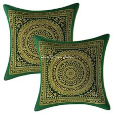 Decorative Cushion Covers 12 x 12 Green Brocade Mandala Set Of 2 Pillow Cases