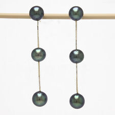 14k Solid Yellow Gold Tin Cup Design Dangle Black Cultured Pearl Stud Earrings