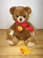 "Steiff Teddy Bear ""Petsey"" 0230/28 Jointed Light Brown 10"" - 3 Tags - Mint"