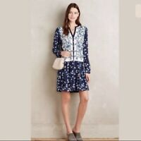 Anthropologie Tiny Womens Semele Embroidered Tunic Dress Medium Petite MP Blue