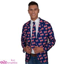 Mens Royal Wedding Union Jack Jacket & Tie UK Great Britain Fancy Dress Costume Medium