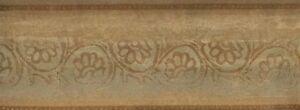 Wallpaper Border Bronze,Tan & Green Leaf Scroll On Faux