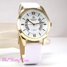 Unusual Designer Gold Plt & White Ladies Gents Unisex Leather Date Display Watch