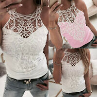 Womens Sleeveless Lace Crochet Vest Cami Tank Tops Summer Casual T-Shirts Blouse