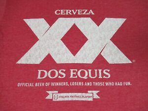 DOS EQUIS CERVEZA XX BEER DISTRESSED GRAPHIC LARGE RED T-SHIRT F534