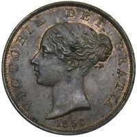 1853 HALFPENNY - VICTORIA BRITISH COPPER COIN - V NICE