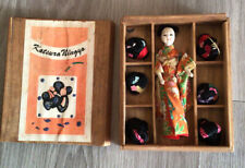 More details for katsura ningyo antique vintage geisha doll satin kimono japanese with six wigs