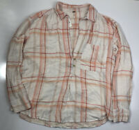 Free People Oversized Tunic Top Shirt Plaid Size Large