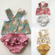 AU Flower Toddler Baby Girls Outfit Clothes Vest Tops T-shirt+Tutu Shorts Pants