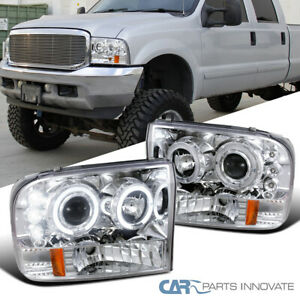 Fit 99-04 Ford F250 F350 F450 Super Duty LED Halo Clear Projector Headlights