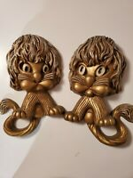 Pair 1976 HOMCO Gold Lion WALL PLAQUES Vintage