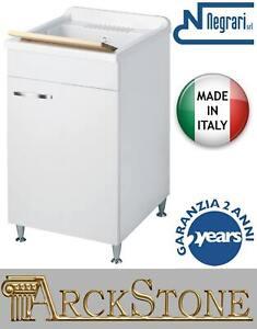 Negrari Classica Washing Machine 50x50 H85 CMS White Flap Slowed Mobile Wood
