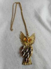VT ARTICULATED OWL PENDANT W/ CITRINE  EYES & AMBER LUCITE FEATHERS NECKLACE