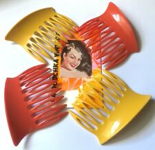 Mod 1960s Women Curved Hair Combs~Lot Of 4~Terracotta & Butterscotch Yellow~New