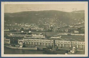 Triest Panorama Hafen Schiffe, gelaufen 1928 (AK3884)