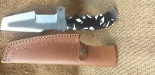 CUSTOM HANDMADE HIGH CARBON STEEL 1095 TRACKER KNIFE WITH LEATHER CASE