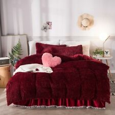 Red Pink Blue White Purple Yellow Plush Shaggy Warm Thick Fleece Bedding Set