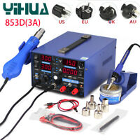 YIHUA 853D 3A USB 3 In 1 Rework Soldering Station Hot Air Gun Desoldering 220V