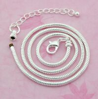 10pcs Snake Chain Silver Plated Charm Necklace Fit European Beads 50cm P12