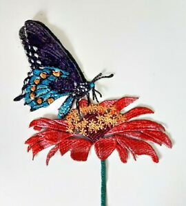 Butterfly and Flower Handmade Sew-On Embroidered Patch