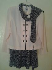 Leslie Fay Dresses Yellow and Navy Career or Church Suit With Scarf Size 18