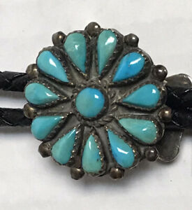 VINTAGE NATIVE AMERICAN ZUNI SILVER BOLO TIE SIGNED PHYLLIS COONSIS