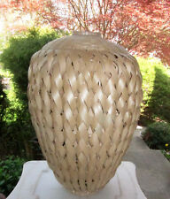 """HUGE HAND WOVEN FLOOR VASE WICKER and WOOD or CANE 24"""" HIGH"""