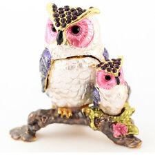 Baby Silver Owl Jewelry Trinket Box Bird Owls Decoration Animal Cute Gift 02034