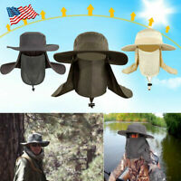 Outdoor Snap Hat Brim Ear Neck Cover Sun Flap Cap Visor Fishing Hiking Garden