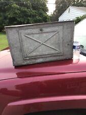 Vtg Chicken Nest Box Rusty Industrial Galvanized Metal Barn Cabinet Bread Box
