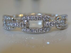 DAVID YURMAN 18K GOLD STAX WEDDING ETERNITY BAND PAVE DIAMOND RING