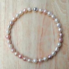 Perlen Kette echt weiss rosa baroque große Kasumiga Collier Silber Länge 44cm