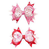 "4.5"" Valentine's Day Printed Ribbon Hair Bows Bowknot Hair Clips Girls Hairgrips"