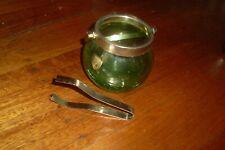 VINTAGE RETRO GREEN GLASS & SILVER TONE METAL/CHROME ICE BUCKET & TONGS 'GIERRE'