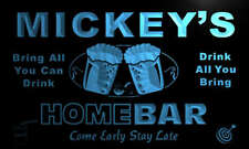 p543-b Mickey's Personalized Home Bar Beer Family Name Neon Light Sign