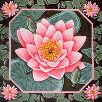 MZC Oriental Pink Lily Pads & Flowers HP Hand Painted Needlepoint Canvas