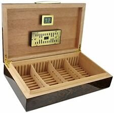 """licca"" Cigar Humidor With Digital Hygrometer And Crystal Humidifier"