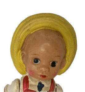 Pig Chaser Farmer Farm Boy Celluloid Doll Part of Tin Wind Up Vintage Japan Toy