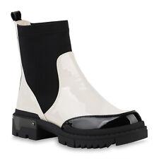 Damen Schlupfstiefeletten Plateau Boots Stiefeletten Lack Stiefel 832018 Schuhe