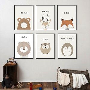 Nordic Art Animal Deer Lion Bear Minimalism Canvas Poster Kids Room Decoration