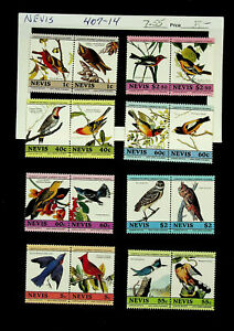 NEVIS LEADERS OF THE WORLD BIRDS 1c - $2.50 8 PAIRS MNH STAMPS #407-14
