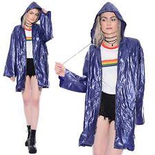 Vtg 80s Shiny PVC Vinyl Glossy Hooded Rain Jacket Raincoat Slicker Regenmantel
