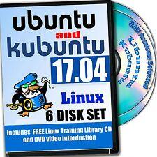 Ubuntu and Kubuntu 17.04 Linux 6-disk DVD Installation and Reference Set