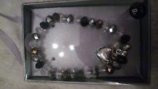FABULOUS CLEAR,BRONZE & BLACK GLASS BEADED BRACELET BN BOXED  MUST L@@K!!
