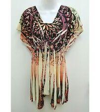 Style & Co Womens Small Tunic Blouse Sublimation Asymmetrical Purple Orange B279