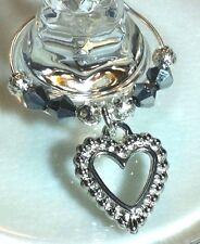 12 x Favor Wine Glass Charm Bridal Christening Bachelorette Silver Heart gift
