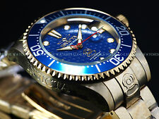 "Invicta Mens 300M ""Fish Scale"" Grand Diver Automatic 18K Gold IP Blue Dial Watch"