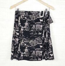 My Michelle Paris Sketch Graphic Flowy Vintage Skirt Black Size Medium