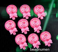 12pcs Resin Pink Lollipops Scrapbook Craft Flatback Decoration DIY C23